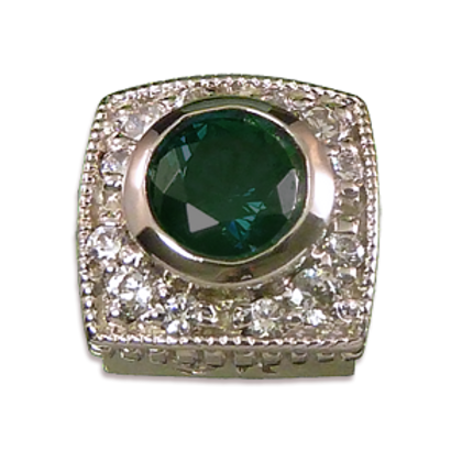 Square Halo Collection Sterling Silver Bezel with Lab  Emerald & CZ