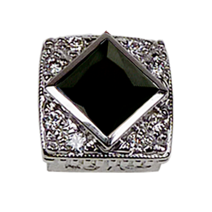 Square Halo Collection Sterling Silver Bezel with CZ Black & CZ