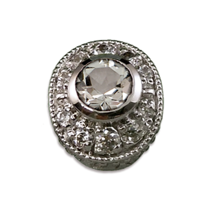 Oval Halo Collection Sterling Silver Bezel with White Topaz& CZ