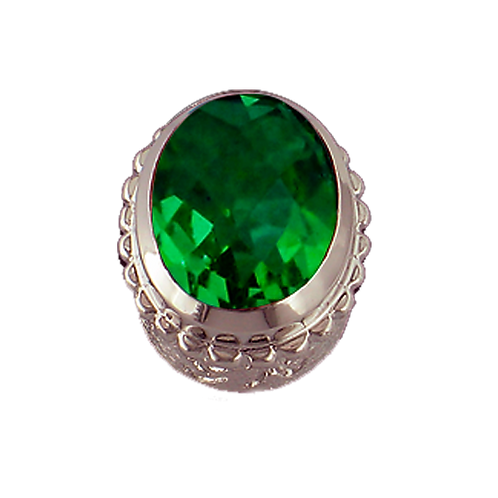 Oval Opaque & CZ Sterling Silver Bezel with CZ Green