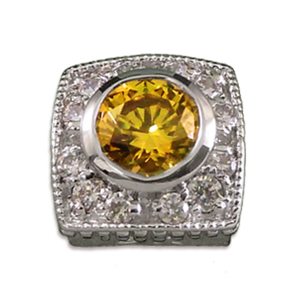 Square Halo Collection Sterling Silver Bezel with Lab  Yellow Sapphire & CZ