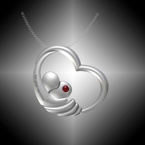 GK Cares Heart Service Pendant Sterling Silver