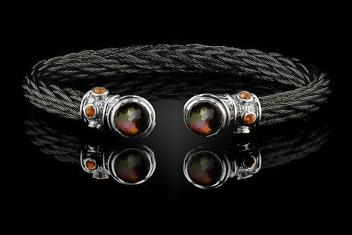 Capri Black Nouveau Braid Bracelet with Smokey Quartz & Black MOP Doublets