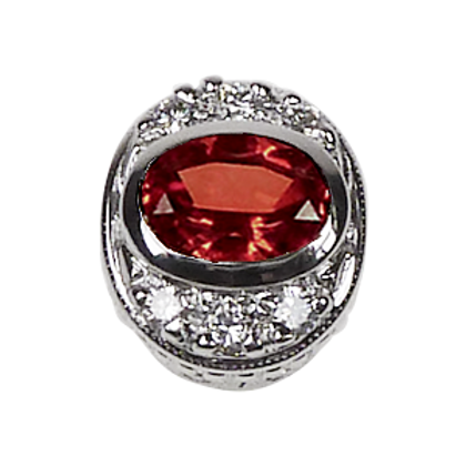 Oval Halo Collection Sterling Silver Bezel with CZ Red & CZ