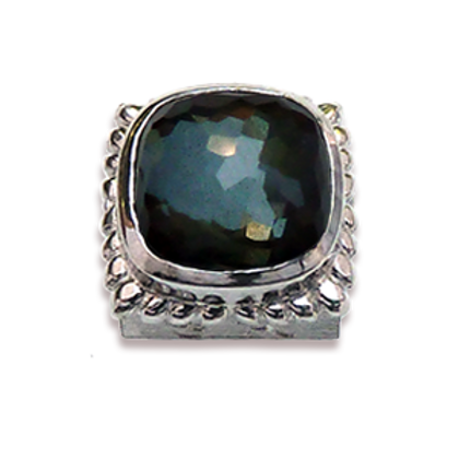 Square Natural Doublets Sterling Silver Bezel with Green Amethyst & Hematite