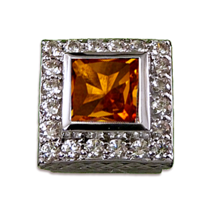 Square Halo Collection Sterling Silver Bezel with Citrine  & CZ