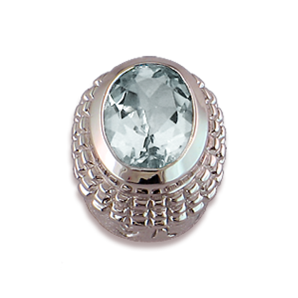 Oval Gemstones Sterling Silver Bezel with Aquamarine