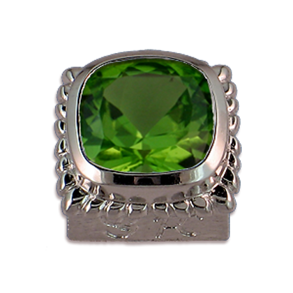Square Gemstones Sterling Silver Bezel with Peridot
