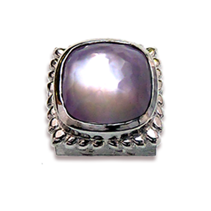 Square Natural Doublets Sterling Silver Bezel with Lavender Amethyst & MOP