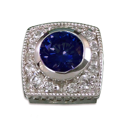 Square Halo Collection Sterling Silver Bezel with Lab  Blue Sapphire & CZ