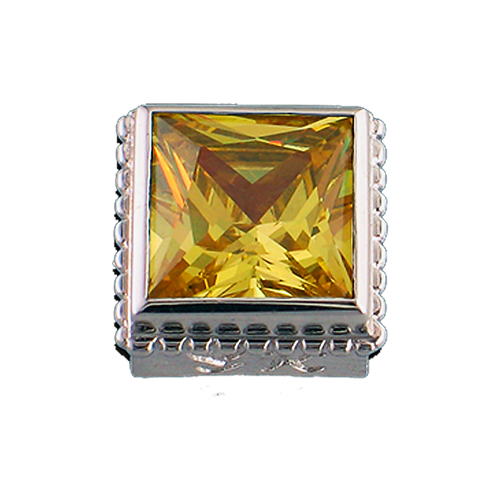 Square Opaque & CZ Sterling Silver Bezel with CZ Yellow