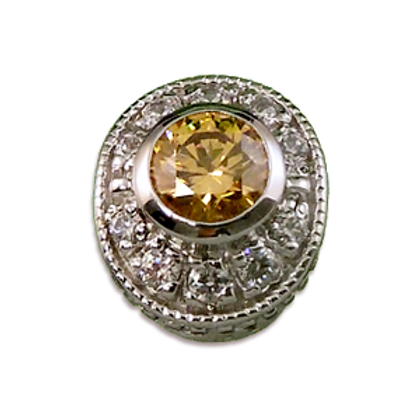 Oval Halo Collection Sterling Silver Bezel with Champagne Citrine  & CZ