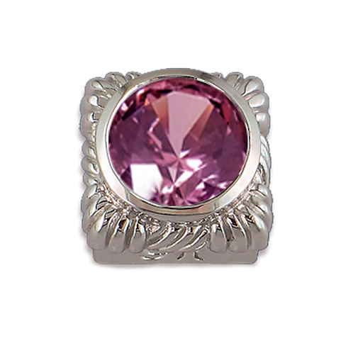 Square Opaque & CZ Sterling Silver Bezel with CZ Fancy Pink