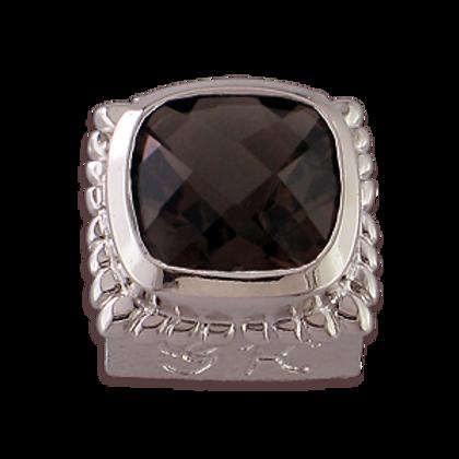 Square Gemstones Sterling Silver Bezel with Smokey Quartz