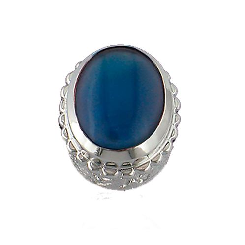 Oval Opaque & CZ Sterling Silver Bezel with Blue Onyx
