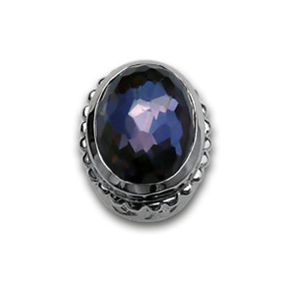 Oval Natural Doublets Sterling Silver Bezel with Amethyst & Hematite
