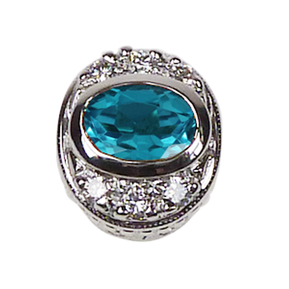 Oval Halo Collection Sterling Silver Bezel with Swiss Blue Topaz & CZ