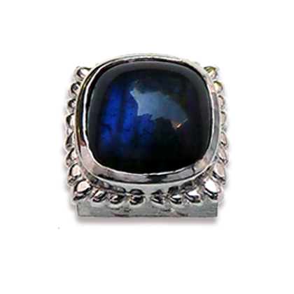 Square Natural Doublets Sterling Silver Bezel with Labradorite & Hematite