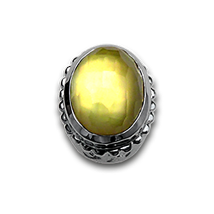 Oval Natural Doublets Sterling Silver Bezel with Lemon Quartz & MOP