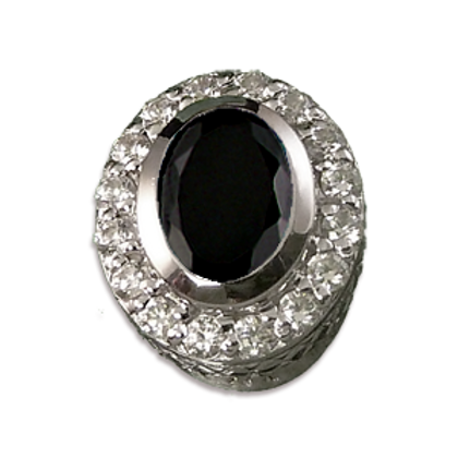 Oval Halo Collection Sterling Silver Bezel with CZ Black & CZ