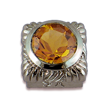Square Gemstones Sterling Silver Bezel with Champagne Citrine