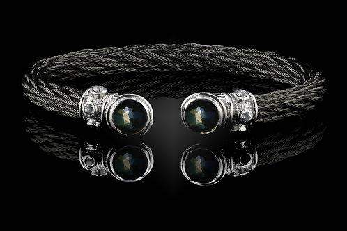 Capri Black Nouveau Braid Bracelet with Lemon Quartz & Hematite Doublets