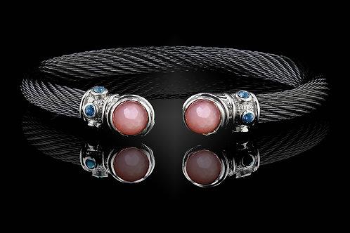 Capri Black Live Wire Bracelet with Rose Quartz & MOP Doublets