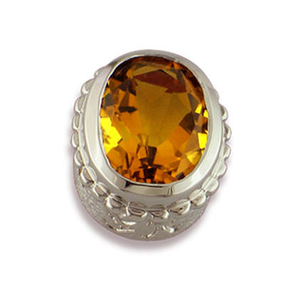 Oval Gemstones Sterling Silver Bezel with Citrine