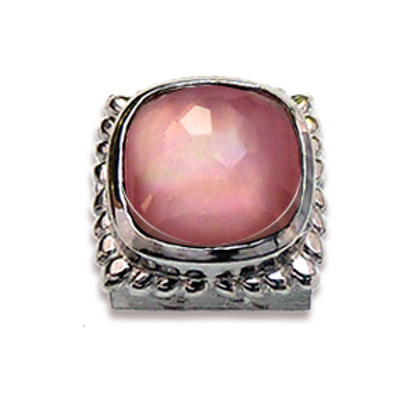 Square Natural Doublets Sterling Silver Bezel with Rose Quartz & MOP