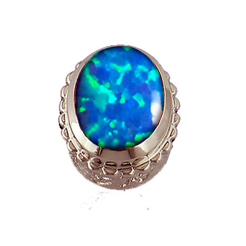 Oval Opaque & CZ Sterling Silver Bezel with Simulated Opal Blue