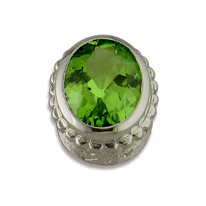 Oval Gemstones Sterling Silver Bezel with Peridot