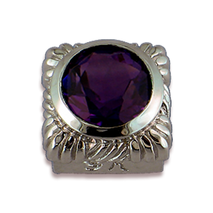Square Gemstones Sterling Silver Bezel with Amethyst