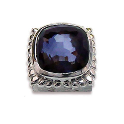Square Natural Doublets Sterling Silver Bezel with Amethyst & Hematite