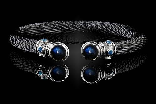 Capri Black Live Wire Bracelet with Labradorite & Hematite Doublets