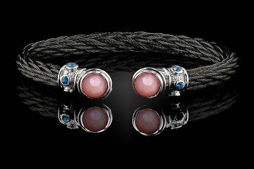 Capri Black Nouveau Braid Bracelet with Rose Quartz & MOP Doublets