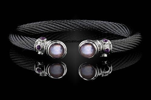 Capri Black Live Wire Bracelet with Lavender Amethyst & MOP Doublets