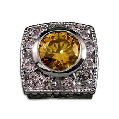 Square Halo Collection Sterling Silver Bezel with Champagne Citrine  & CZ