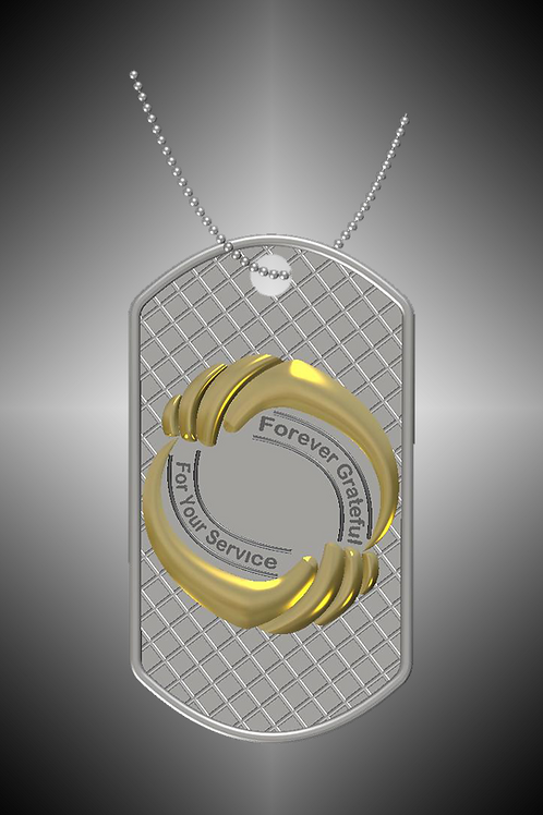 GK Cares Tag Pendant Sterling Silver & 14K Yellow Gold
