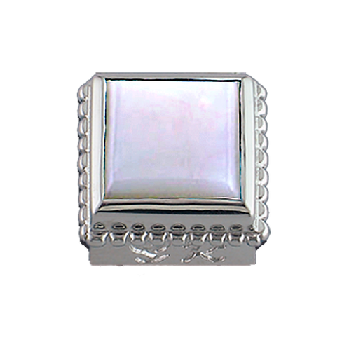 Square Opaque & CZ Sterling Silver Bezel with Mother of Pearl White
