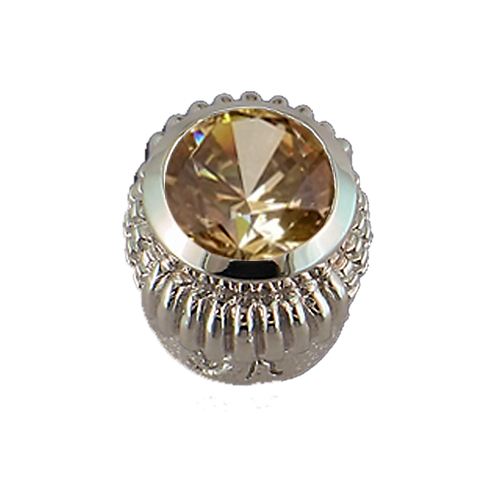 Oval Opaque & CZ Sterling Silver Bezel with CZ Fancy Yellow