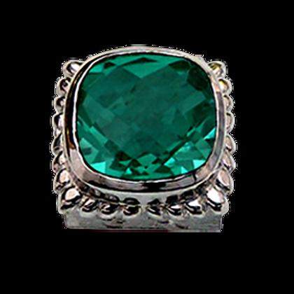 Square Gemstones Sterling Silver Bezel with  Quartz Doublet Forest