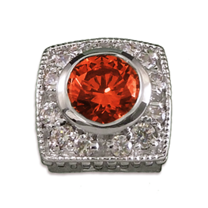 Square Halo Collection Sterling Silver Bezel with Lab  Orange Sapphire & CZ