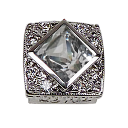 Square Halo Collection Sterling Silver Bezel with CZ White & CZ
