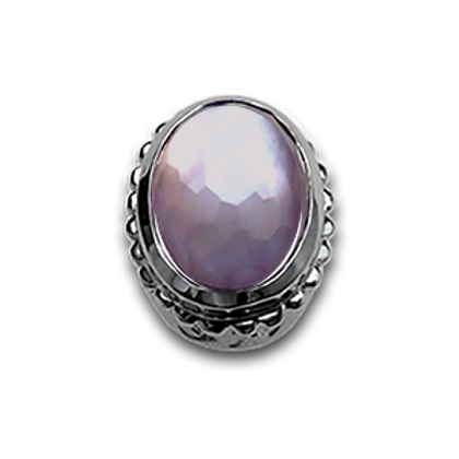 Oval Natural Doublets Sterling Silver Bezel with Lavender Amethyst & MOP