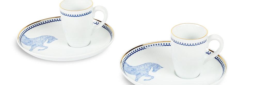 Horse Luck Collection-Blue At Figürlü Lacivert 2'li Kahve Fincan Seti (Espresso)