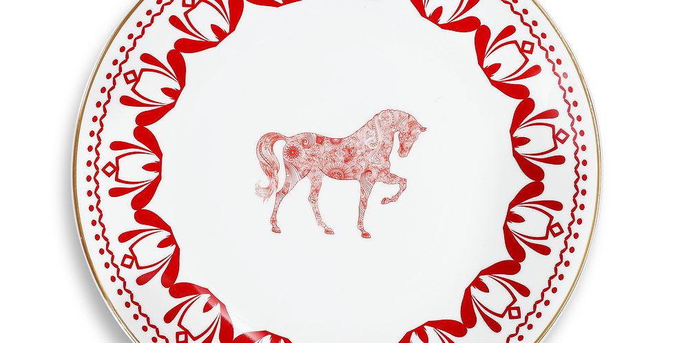 Horse Luck Collection-Red 28cm At Figürlü Bordo Servis Tabak (Supla)
