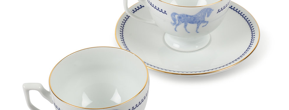 Horse Luck Collection Blue - 2'li Çay Fincan Set