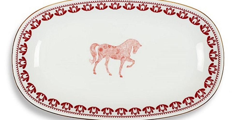 Horse Luck Collection Red - 34cm Kayık Servis Tabak