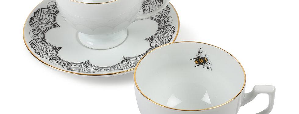 Arı Figürlü 2'li Çay Fincan Seti