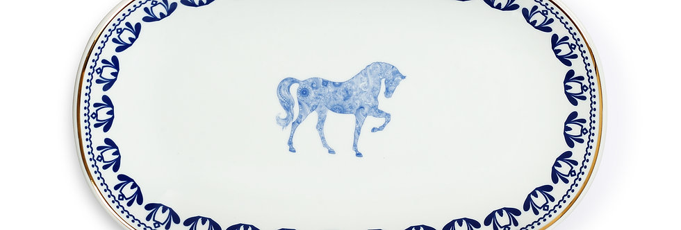 Horse Luck Blue 29 cm At Figürlü Lacivert Kayık Servis Tabak